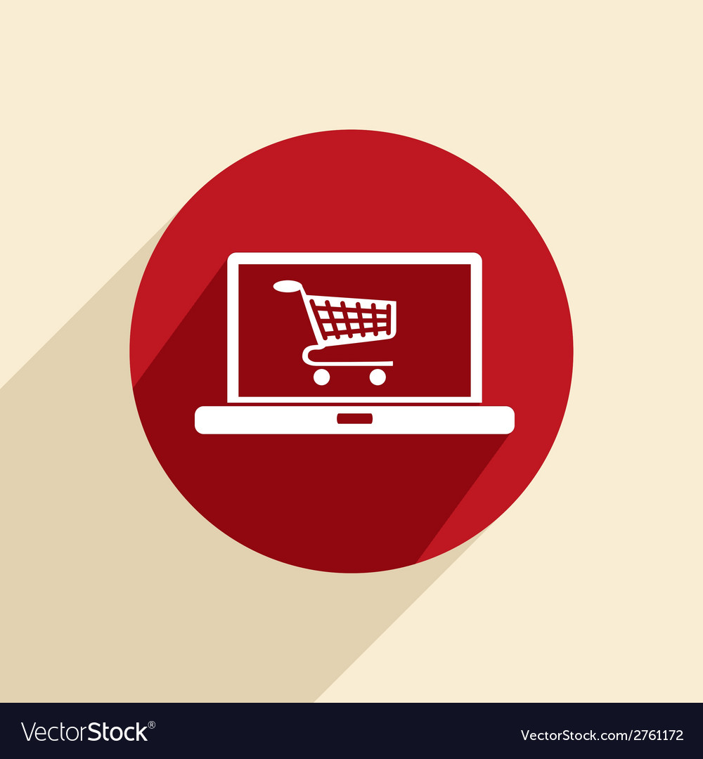 Laptop with shopping cart vector | Price: 1 Credit (USD $1)