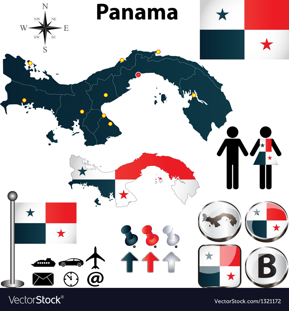 Map of panama vector | Price: 1 Credit (USD $1)