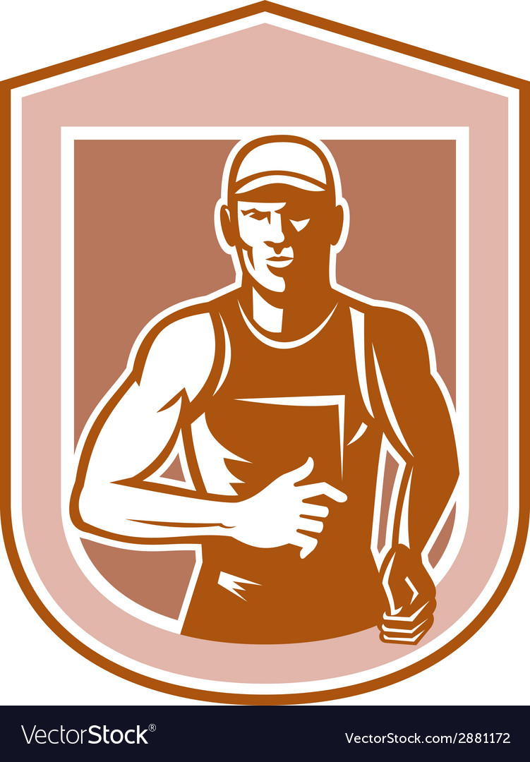 Marathon runner running shield retro vector | Price: 1 Credit (USD $1)