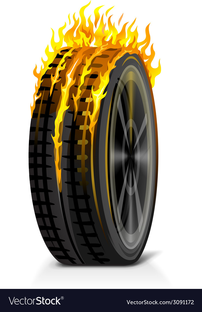 One burning tire vector | Price: 1 Credit (USD $1)