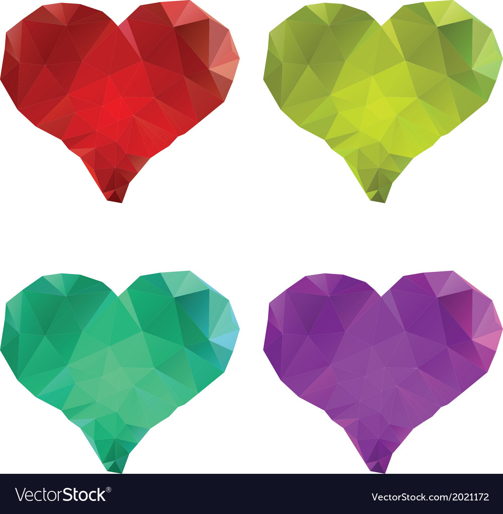Polygonal hearts set5 vector | Price: 1 Credit (USD $1)