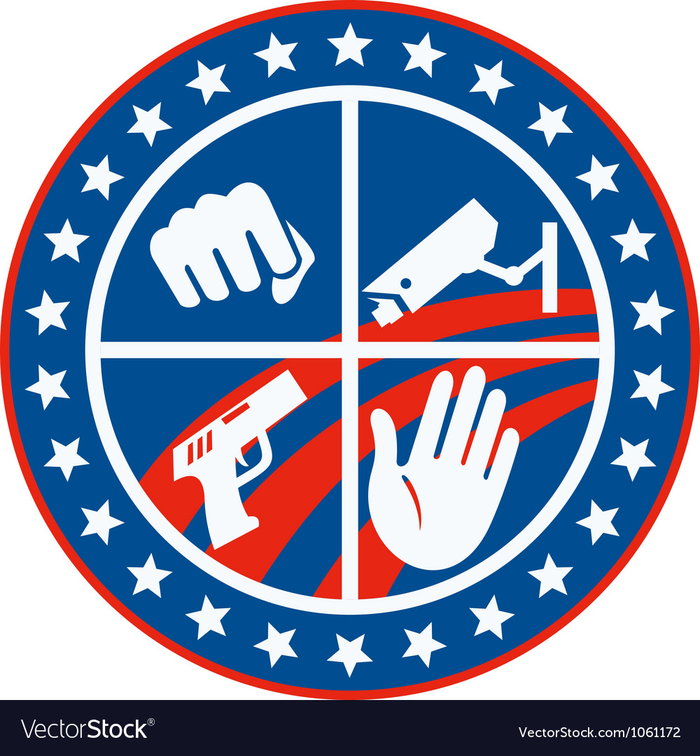 Security cctv camera gun fist hand circle vector | Price: 1 Credit (USD $1)