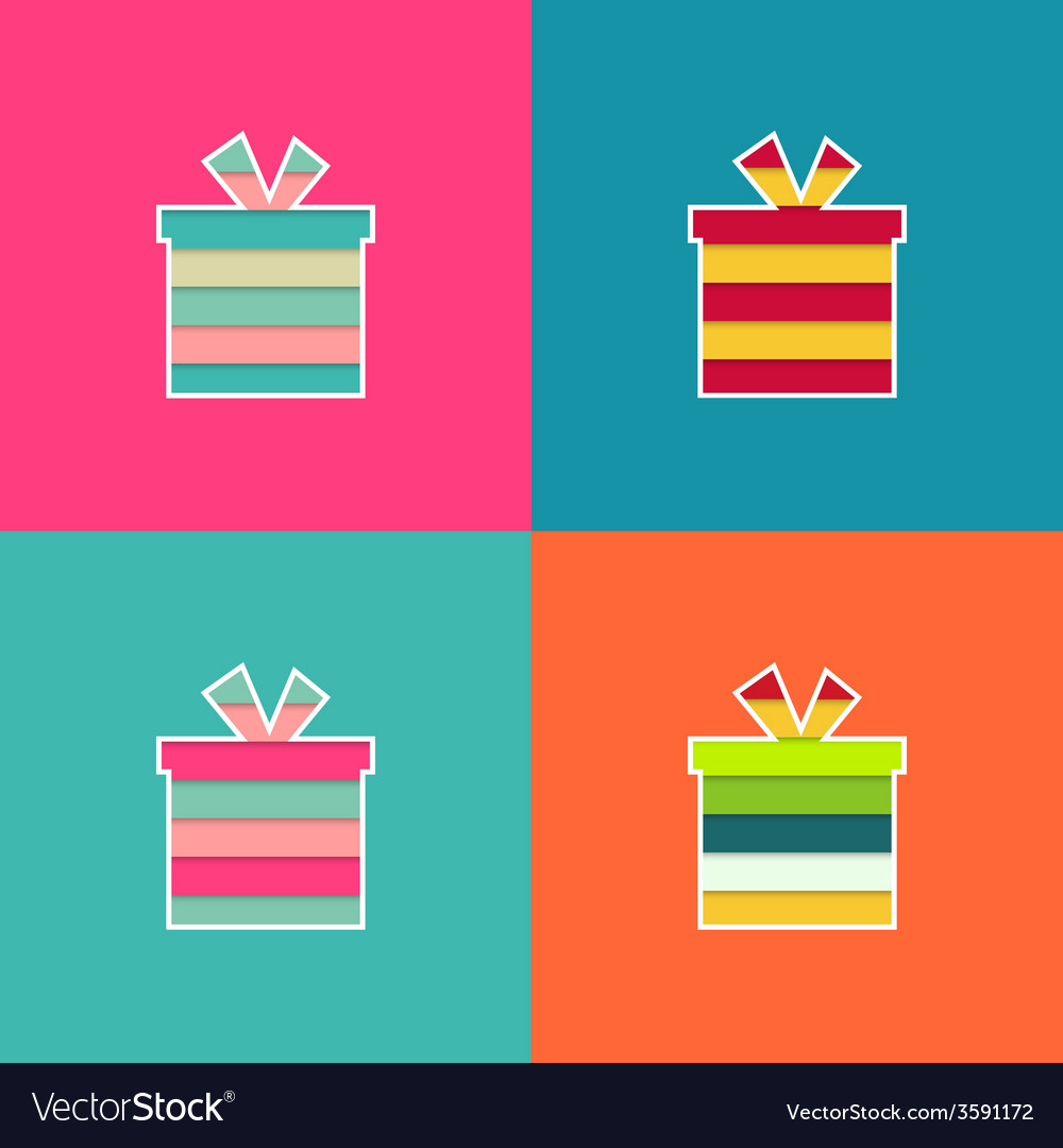 Set of multi-colored bright gift vector | Price: 1 Credit (USD $1)