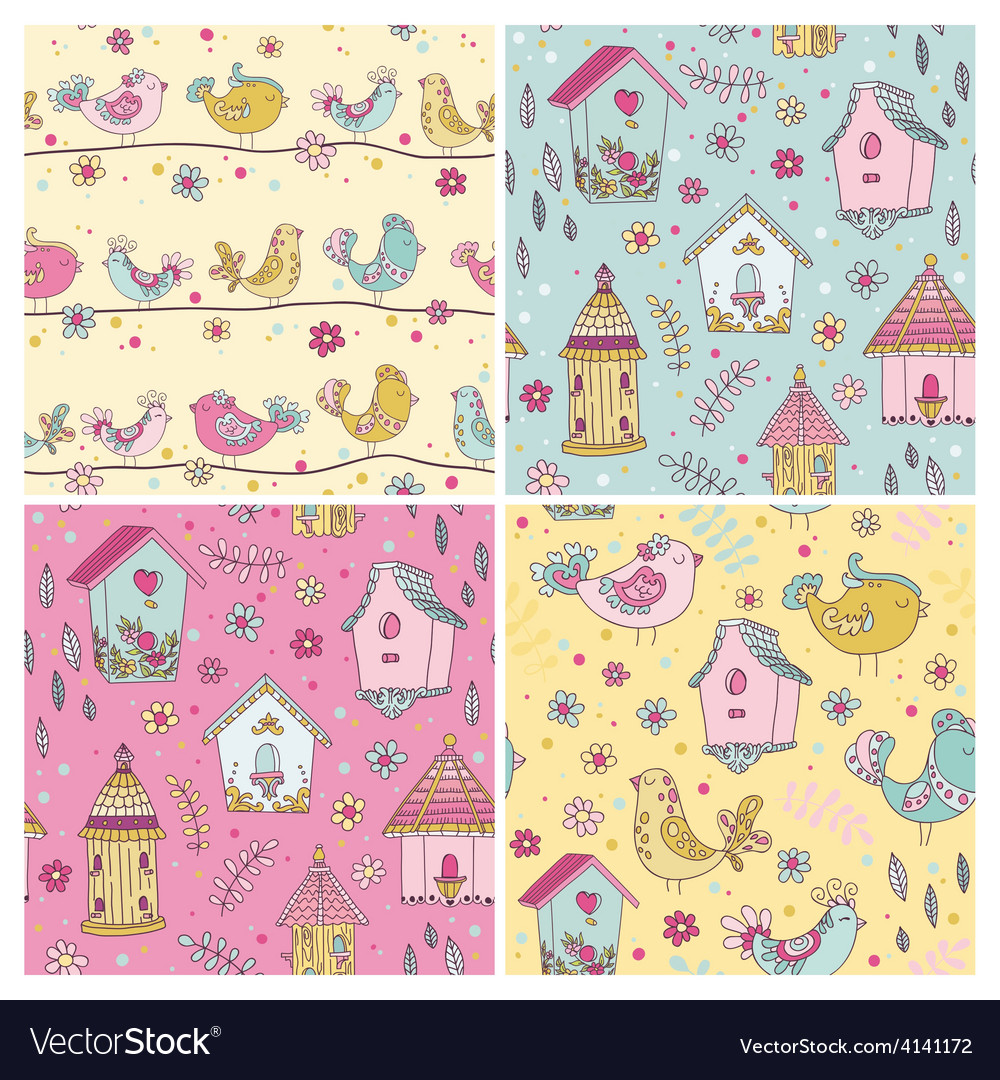 Set of seamless patterns  cute birds backgrounds vector