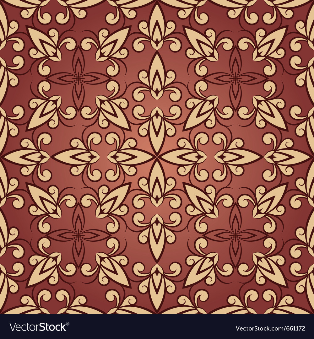 Vintage seamless floral ornament in red vector   Price: 1 Credit (USD $1)