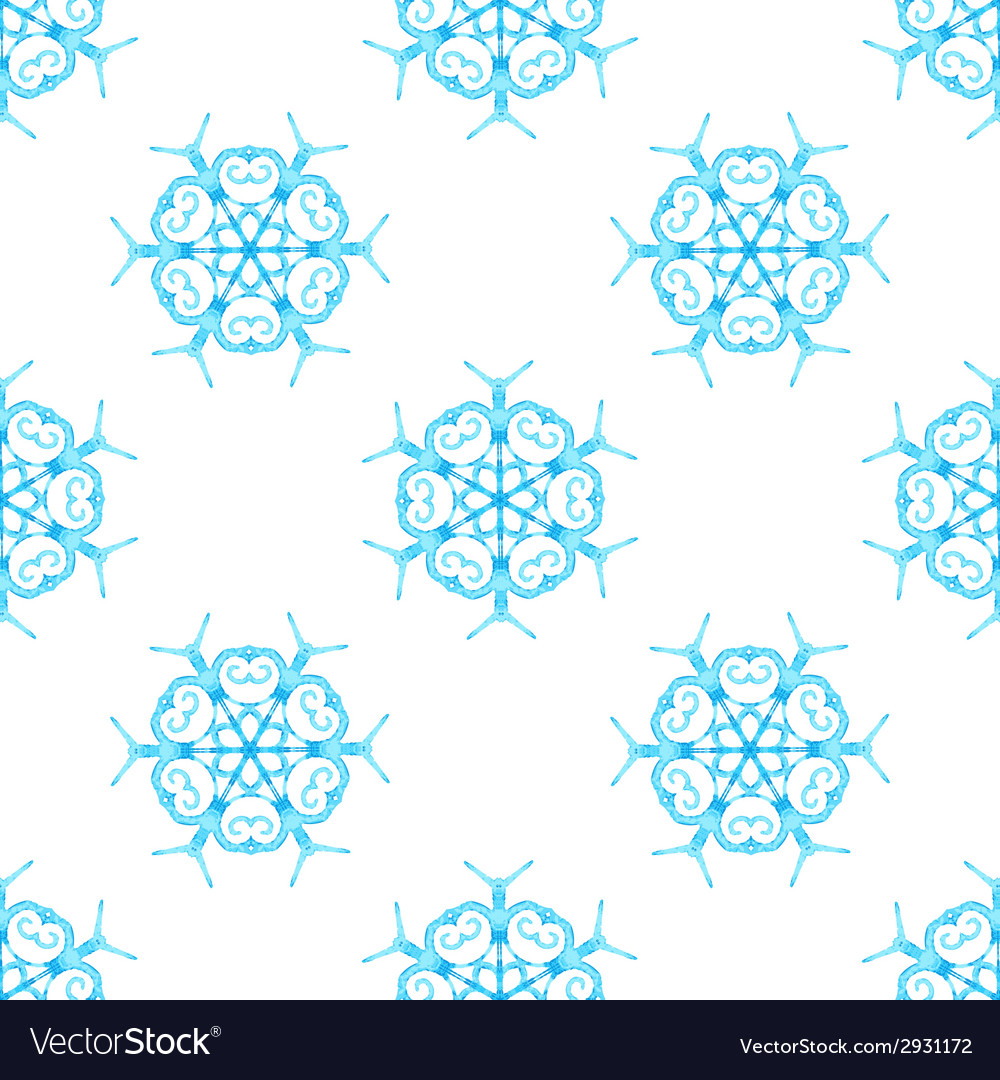 Watercolour snowflakes on white background vector | Price: 1 Credit (USD $1)
