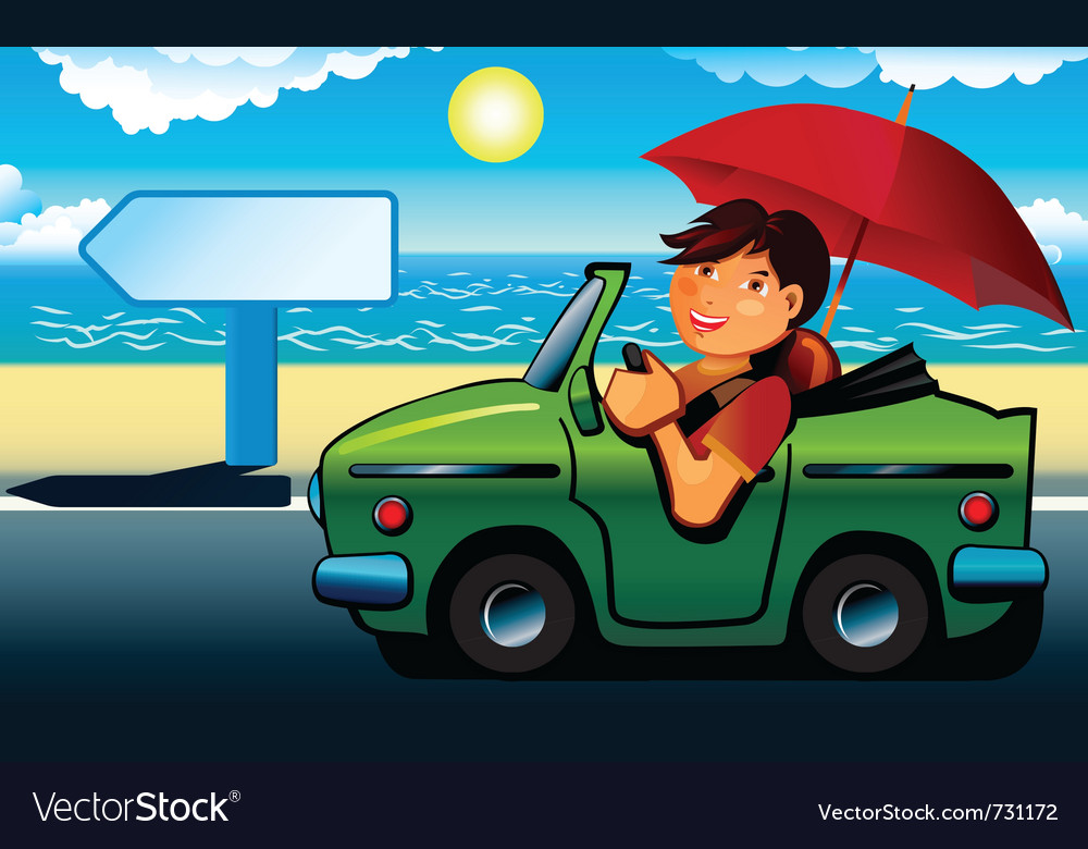 Young man going to the beach by cabriolet vector | Price: 3 Credit (USD $3)