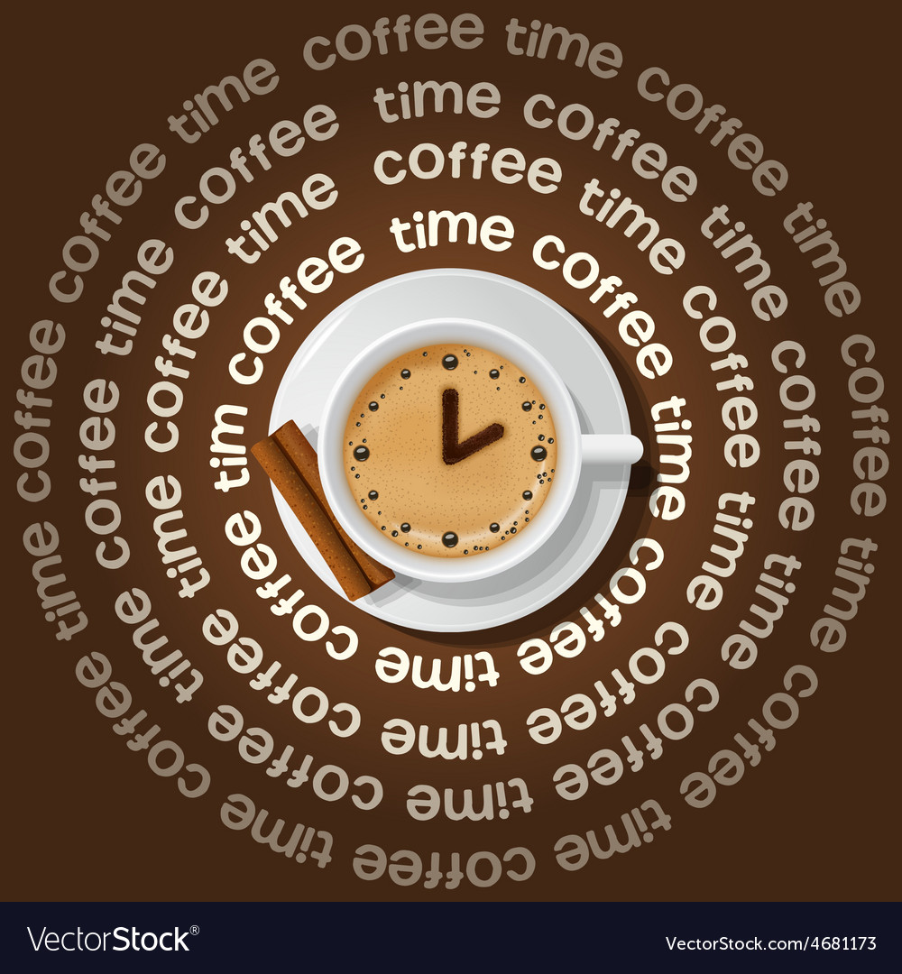 A cup of clock in cappuccino vector | Price: 1 Credit (USD $1)