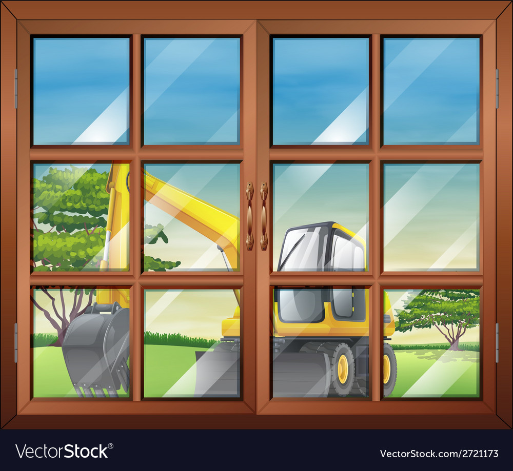 A window with a view of the bulldozer outside vector | Price: 1 Credit (USD $1)