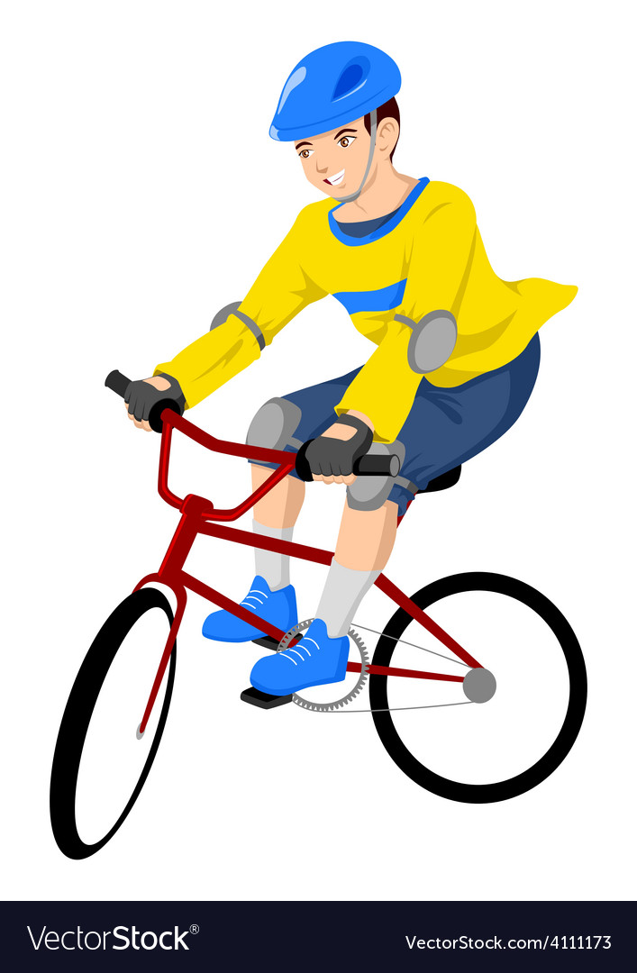 Boy riding a bicycle vector | Price: 1 Credit (USD $1)