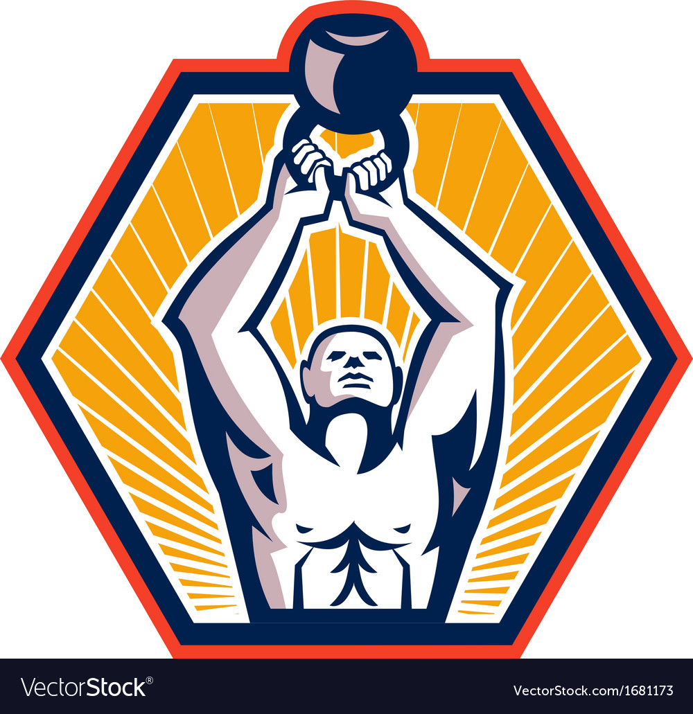 Crossift athlete lifting kettlebell front retro vector | Price: 1 Credit (USD $1)