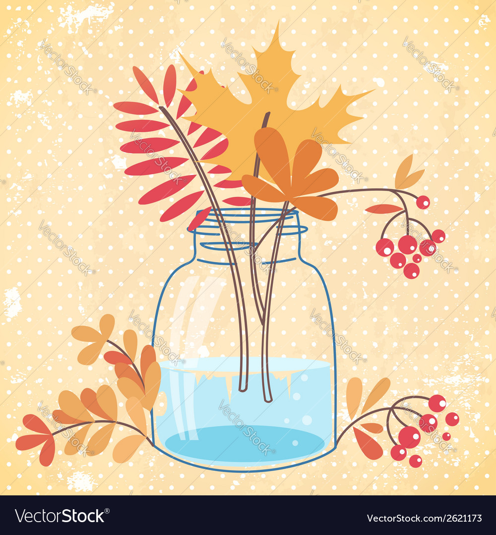 Greeting card with autumn leaves and berries vector | Price: 1 Credit (USD $1)