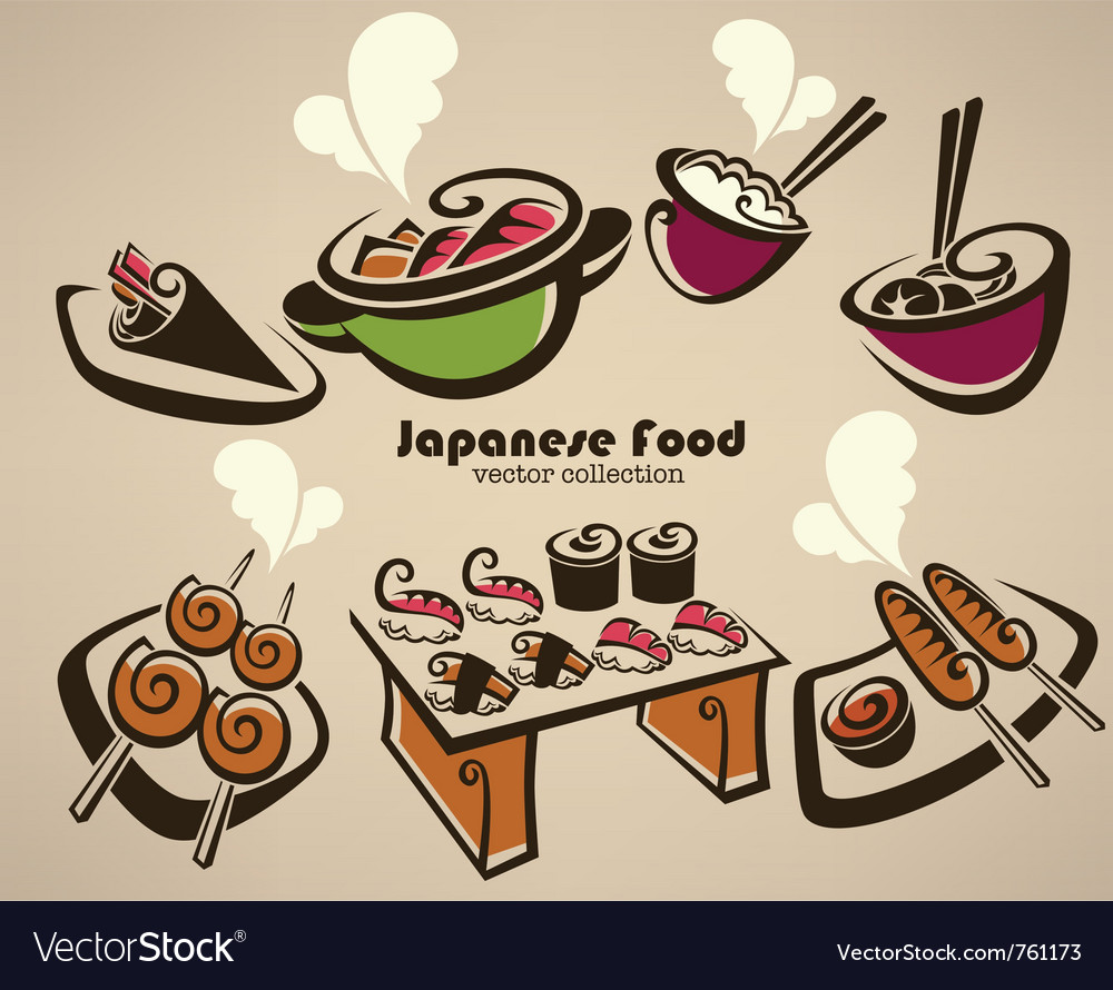 Japanese food symbols vector | Price: 1 Credit (USD $1)