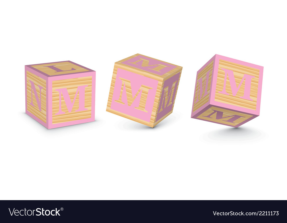 Letter m wooden alphabet blocks vector | Price: 1 Credit (USD $1)