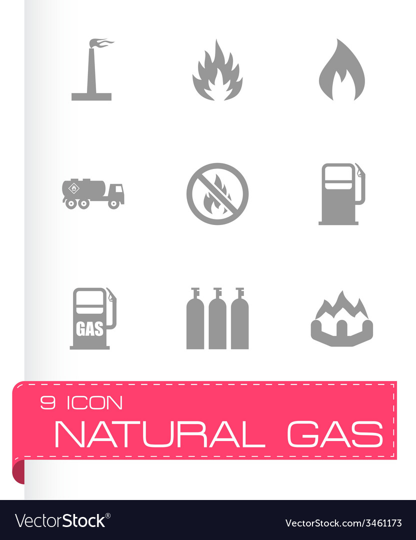 Natural gas icon set vector | Price: 1 Credit (USD $1)