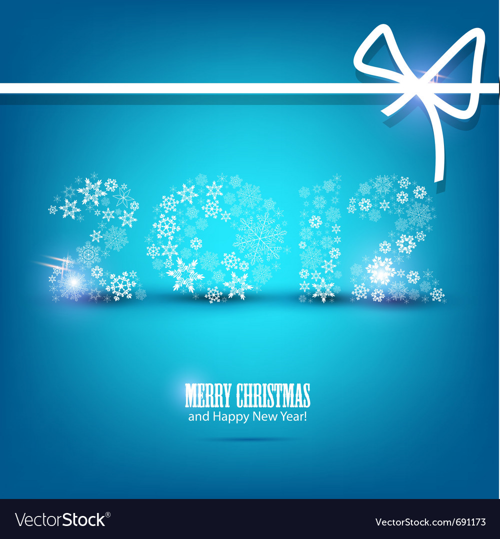 New year card 2012 made from snowflakes christmas vector | Price: 1 Credit (USD $1)