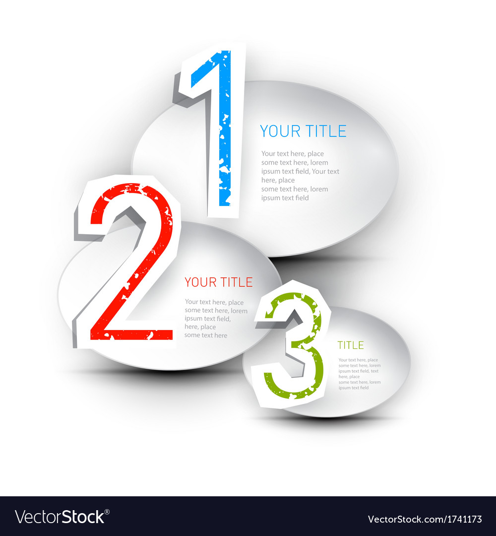 One two three paper progress steps for tutorial vector | Price: 1 Credit (USD $1)
