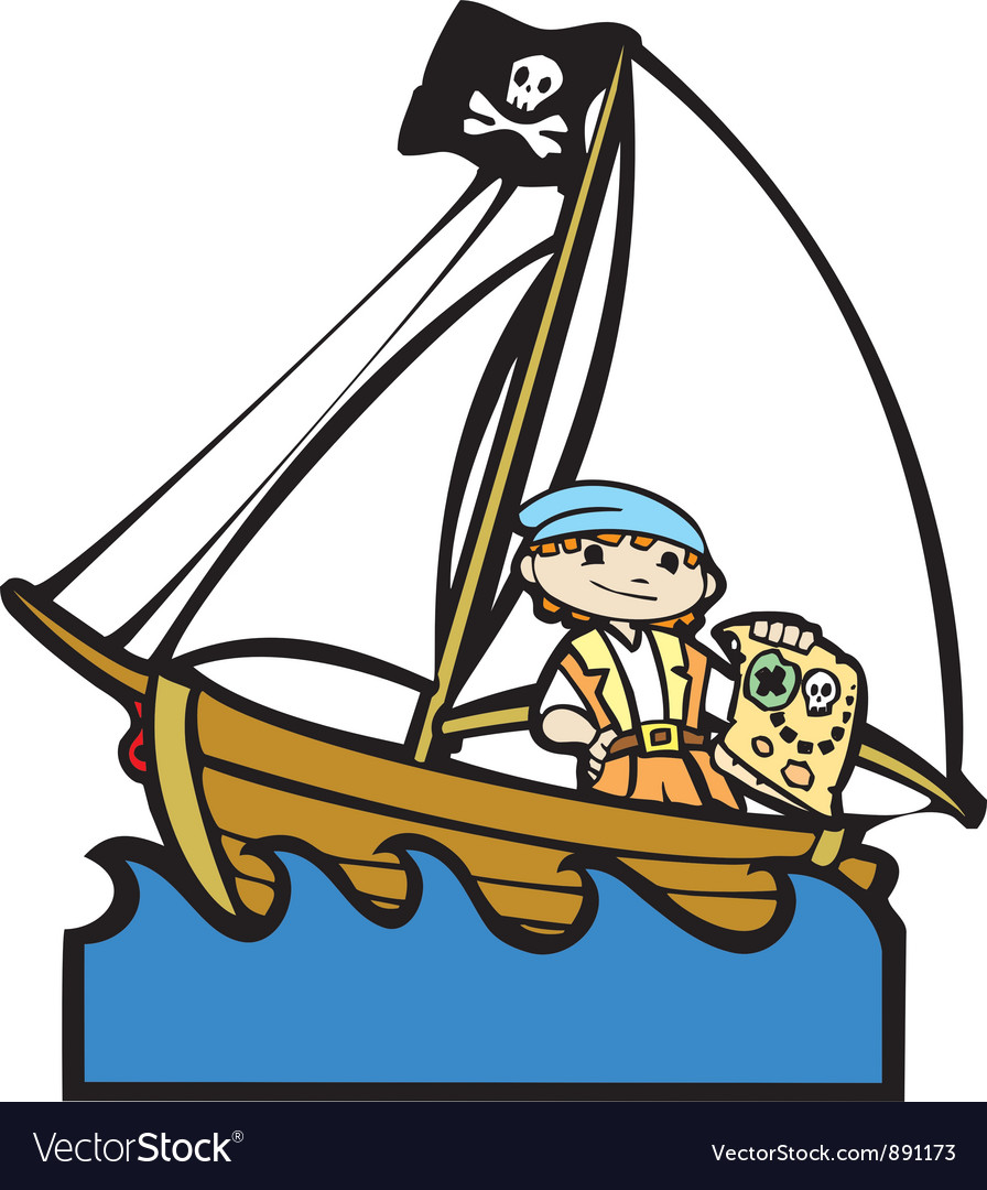 Pirate boat with boy vector | Price: 1 Credit (USD $1)