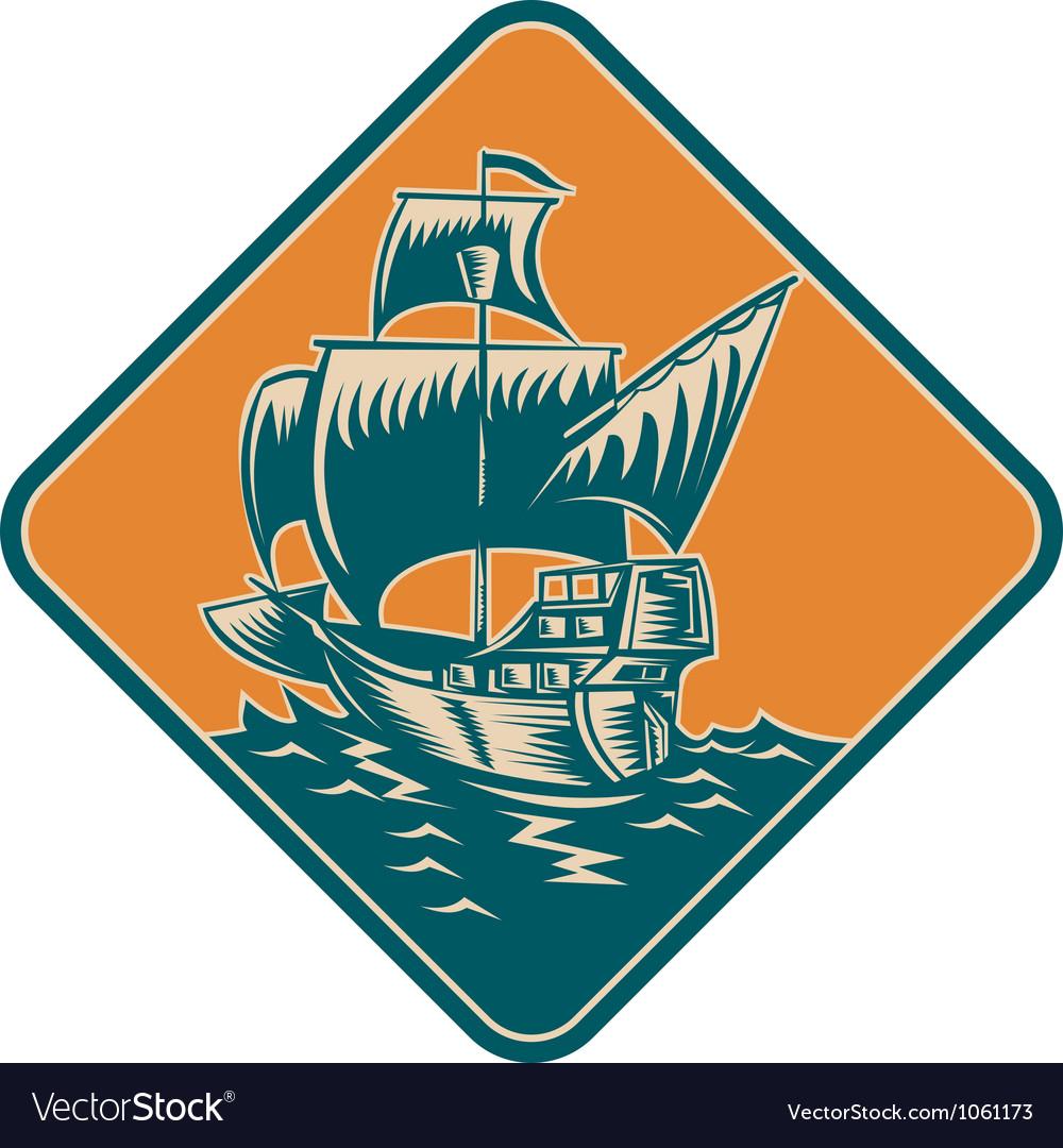 Tall sailing ship retro woodcut vector | Price: 1 Credit (USD $1)
