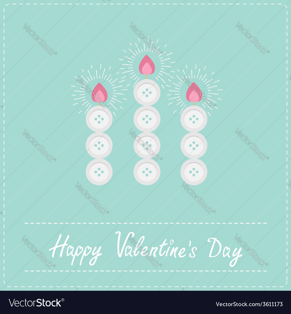 Three candles button on blue valentines day vector | Price: 1 Credit (USD $1)
