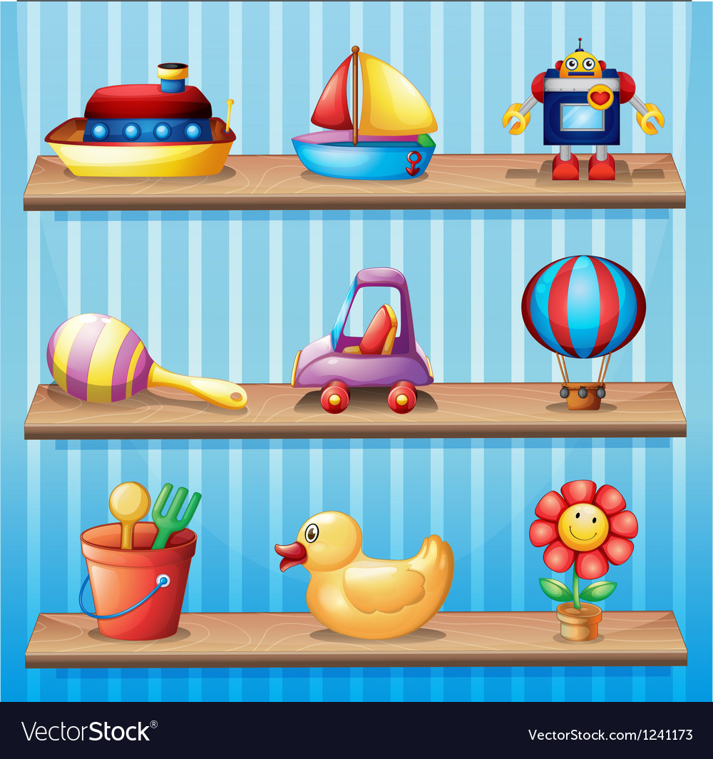 Three wooden shelves with different toys vector   Price: 1 Credit (USD $1)