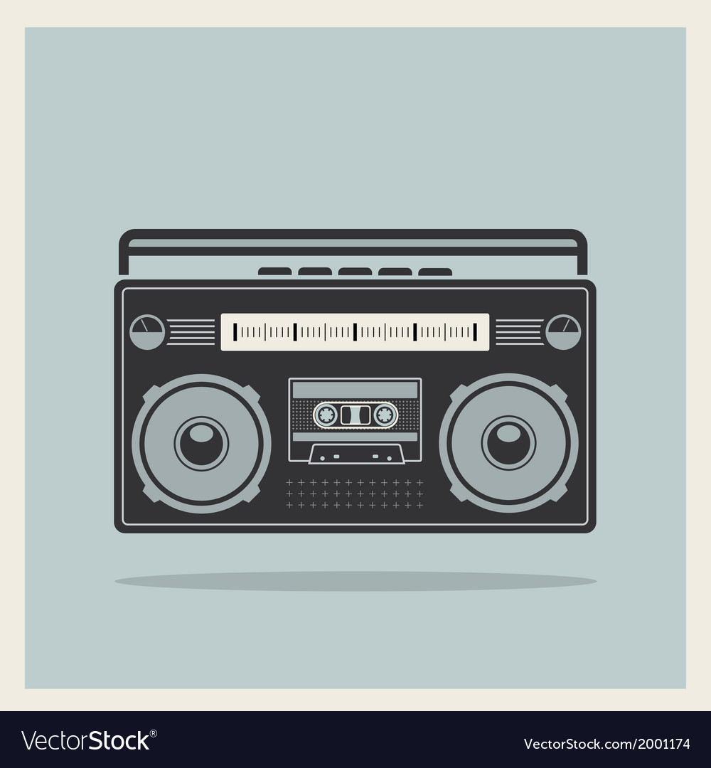 Classic 80s boombox on retro background icon vector | Price: 1 Credit (USD $1)