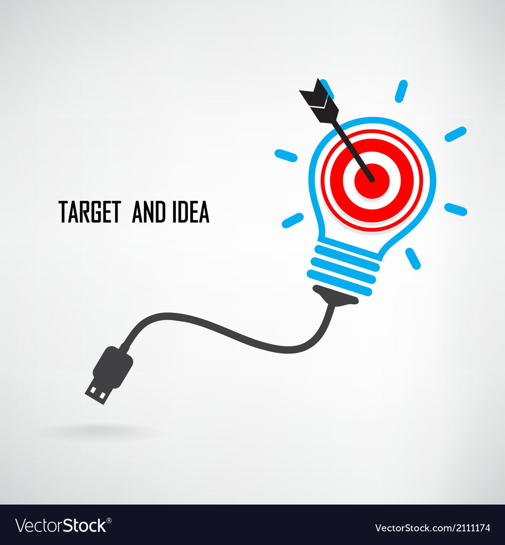Creative light bulb and target concept background vector | Price: 1 Credit (USD $1)