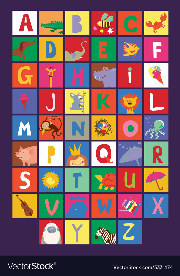 Cute alphabet for kids vector | Price: 1 Credit (USD $1)