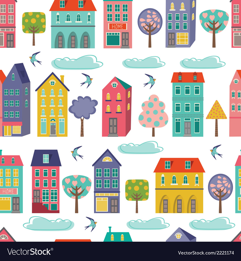 Cute city seamless background vector | Price: 1 Credit (USD $1)