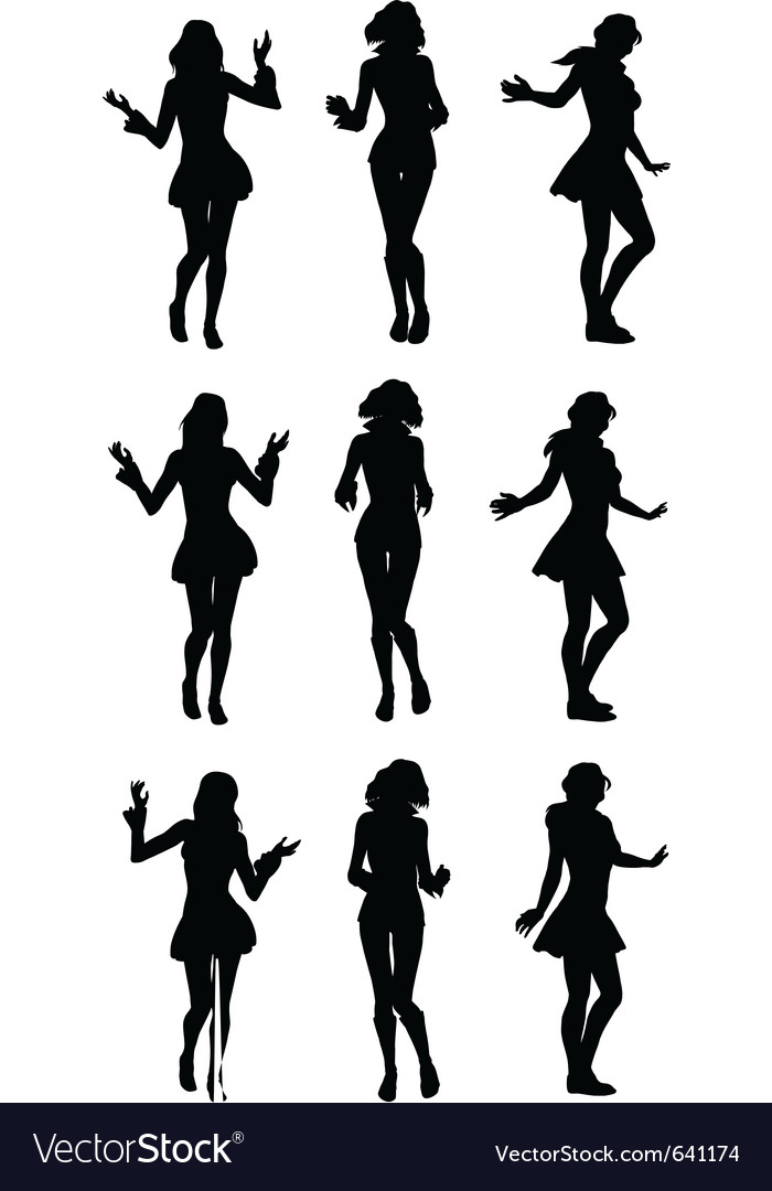 Dancing girls silhouette vector | Price: 1 Credit (USD $1)