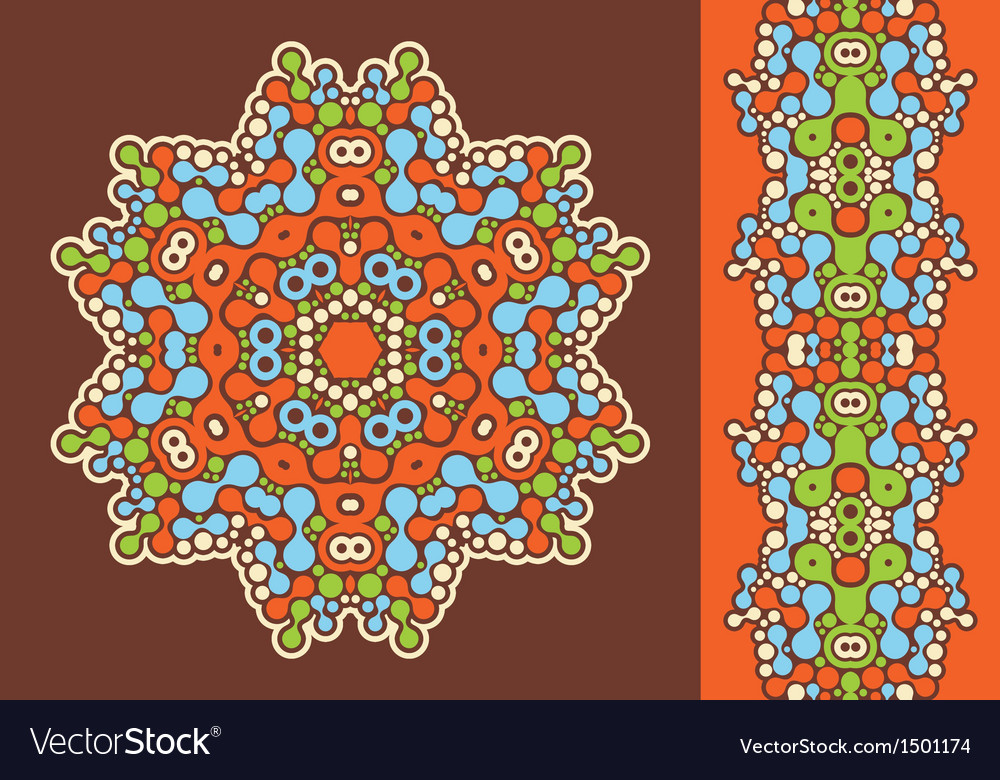 Decoration ring and psychedelic seamless pattern vector | Price: 1 Credit (USD $1)