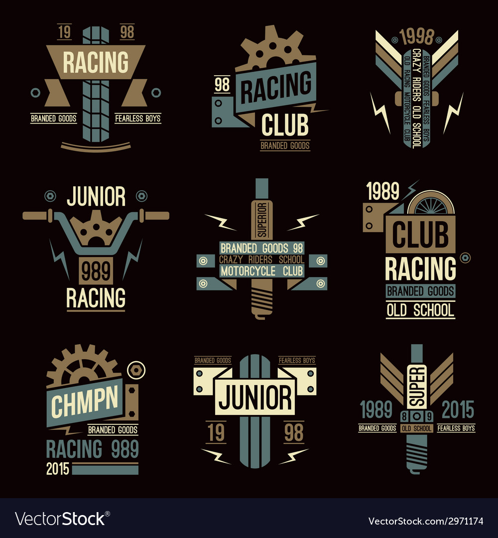 Emblems motorcycle races in retro style vector | Price: 1 Credit (USD $1)