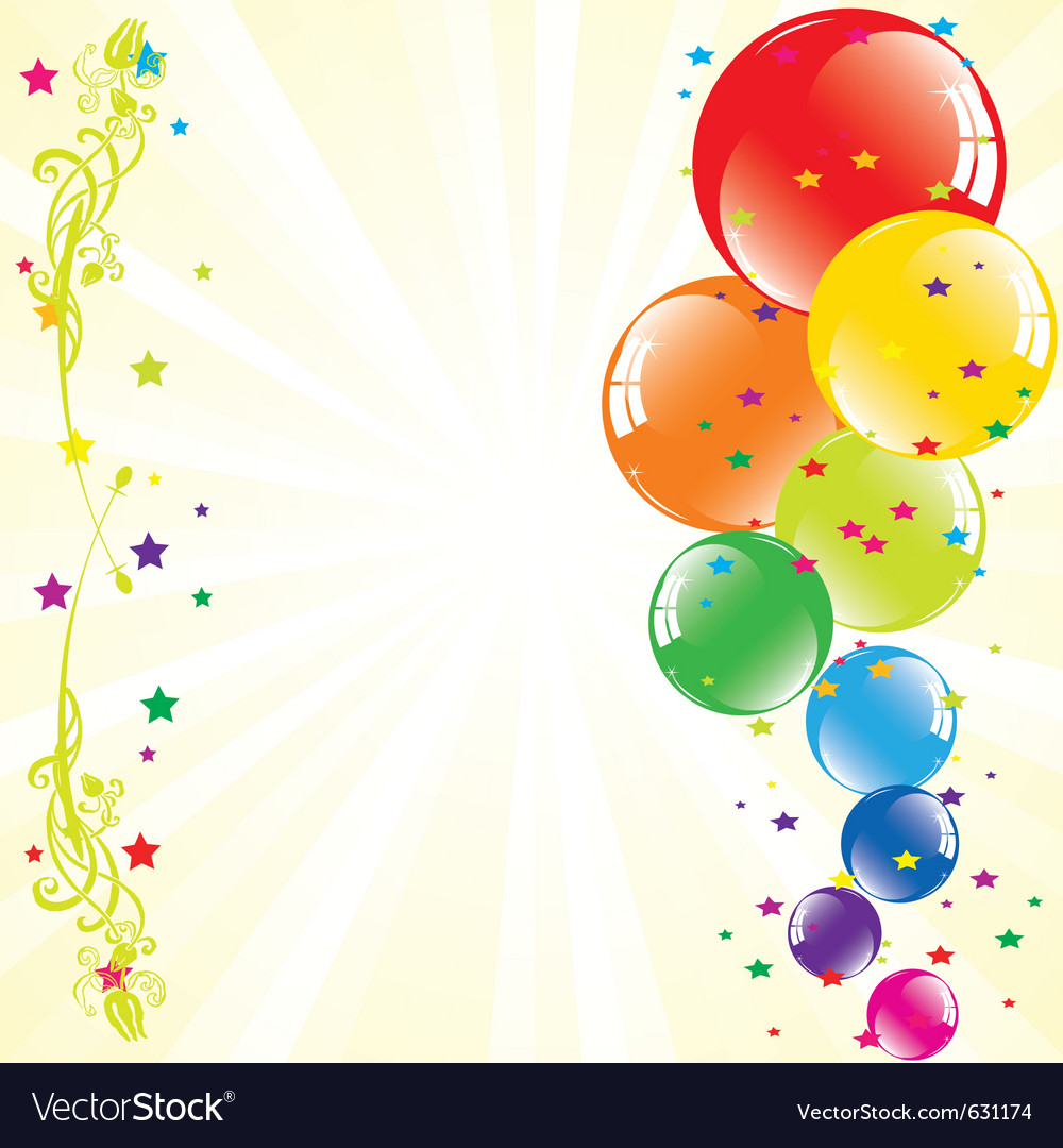 Festive balloons and light-burst vector | Price: 1 Credit (USD $1)
