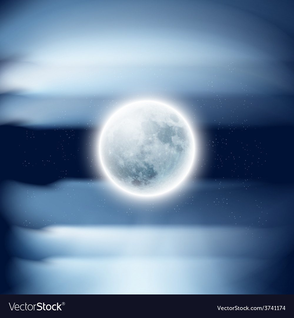 Full moon in the night sky with clouds vector | Price: 1 Credit (USD $1)