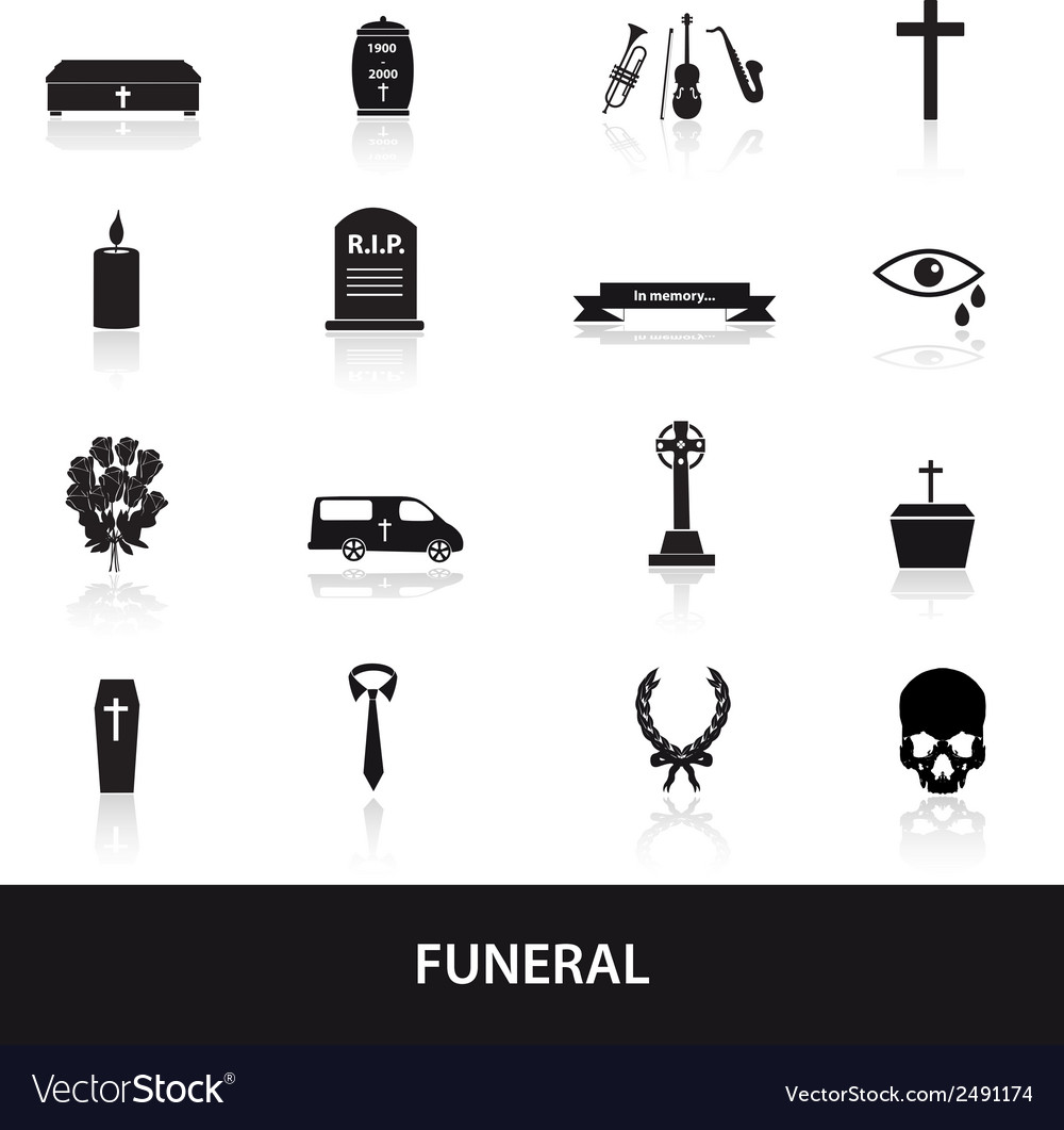 Funeral icons set eps10 vector | Price: 1 Credit (USD $1)
