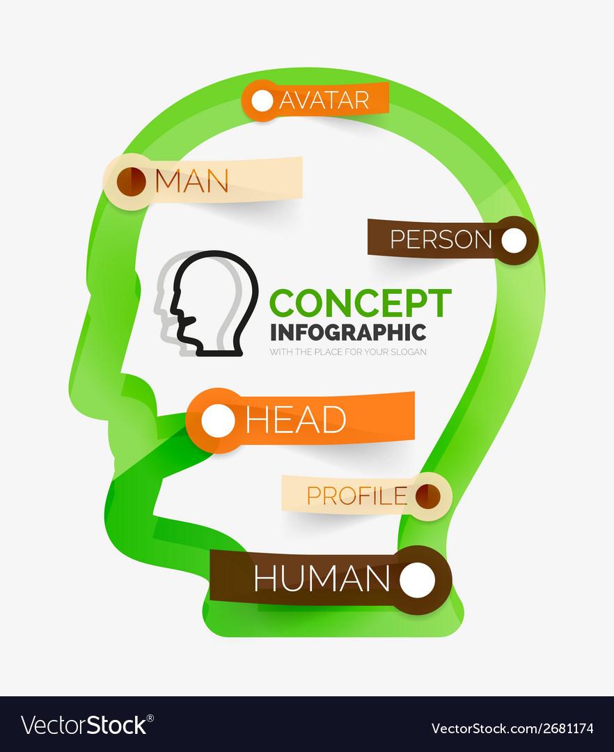 Human head infographic concept line art vector | Price: 1 Credit (USD $1)