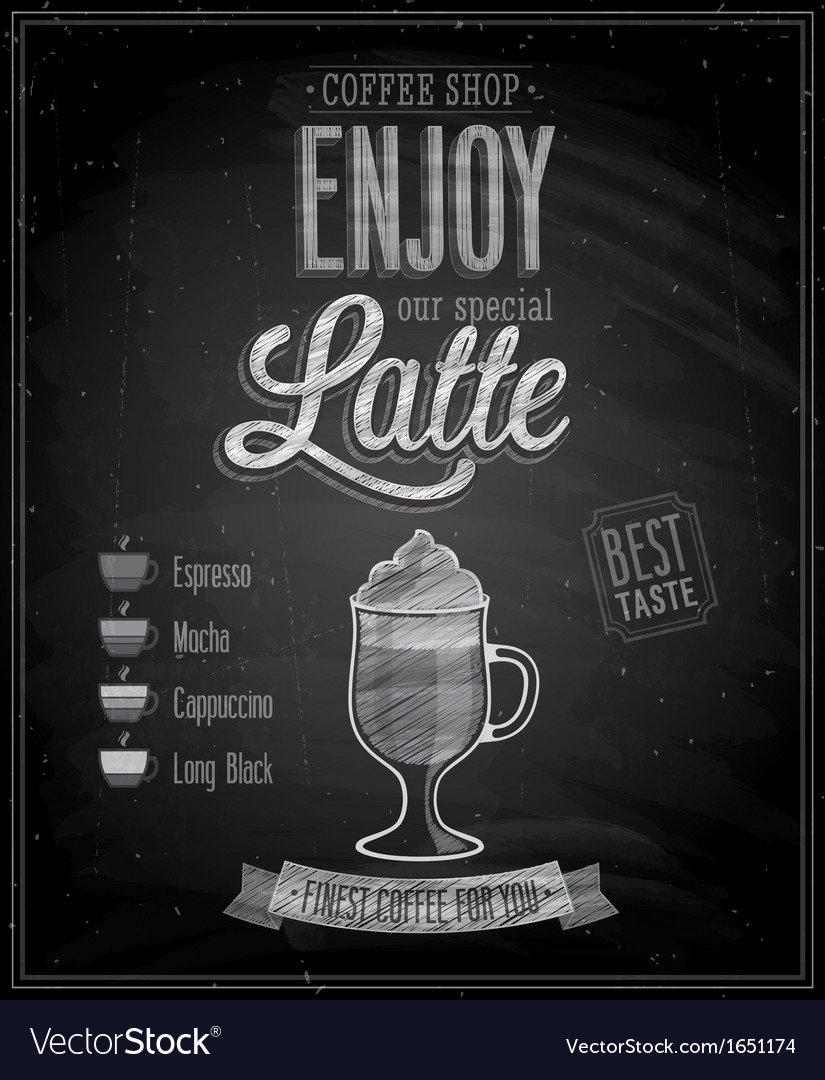 Latte chalk vector | Price: 1 Credit (USD $1)