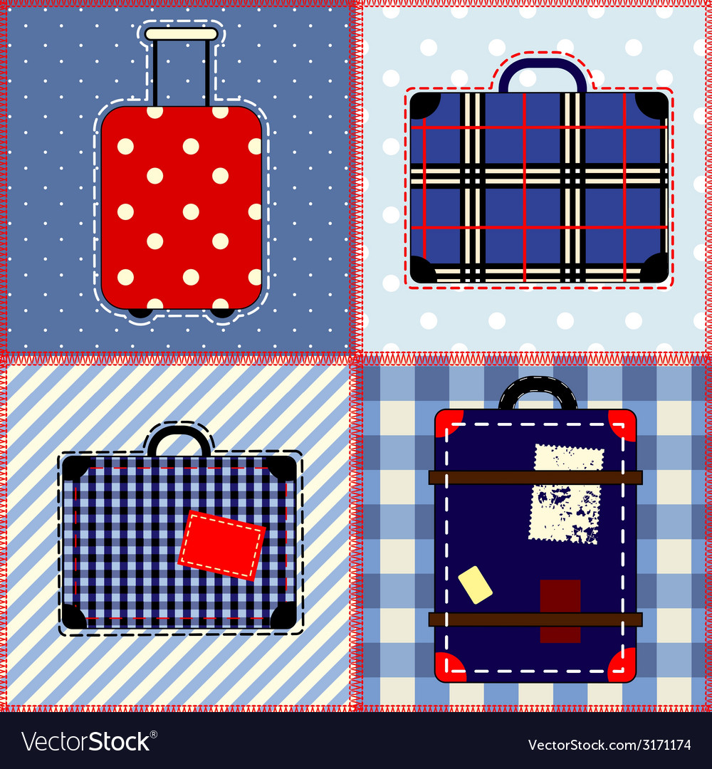 Patchwork quilt with suitcases vector   Price: 1 Credit (USD $1)