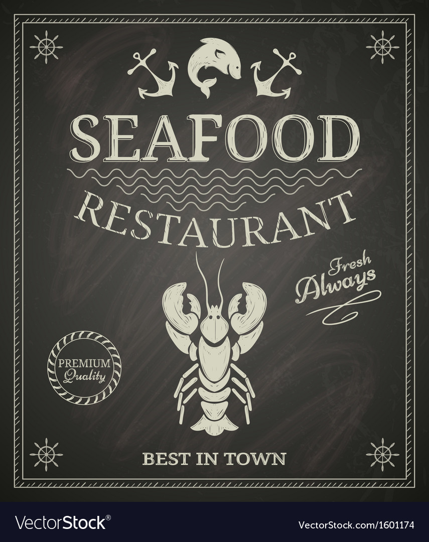 Seafood restaurant poster vector | Price: 1 Credit (USD $1)