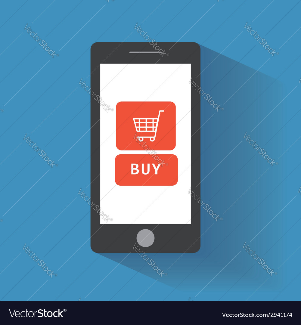 Smart phone with buy button on the screen vector | Price: 1 Credit (USD $1)