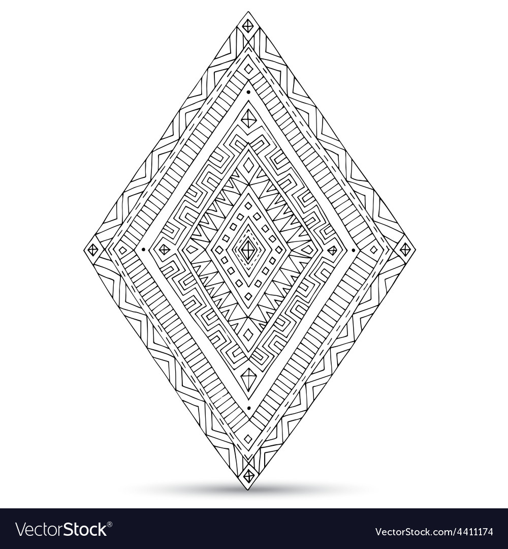 Tribal doddle rhombus isolated on the white vector | Price: 1 Credit (USD $1)