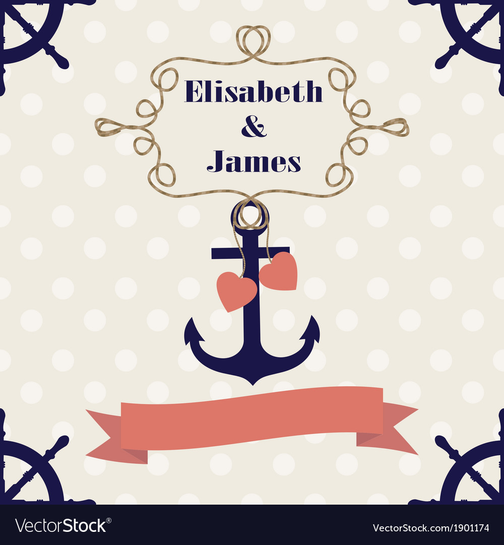 Wedding nautical invitation card with anchor on po vector | Price: 1 Credit (USD $1)
