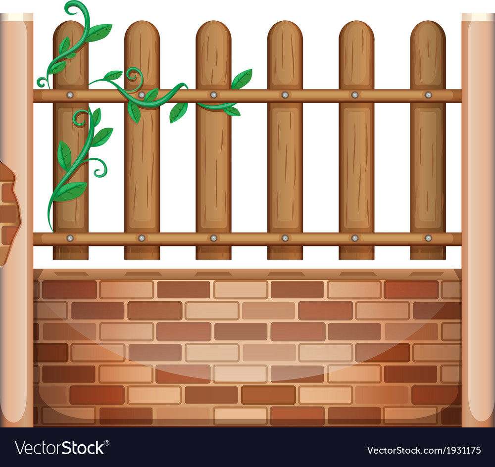 A fence made of bricks and woods vector | Price: 1 Credit (USD $1)