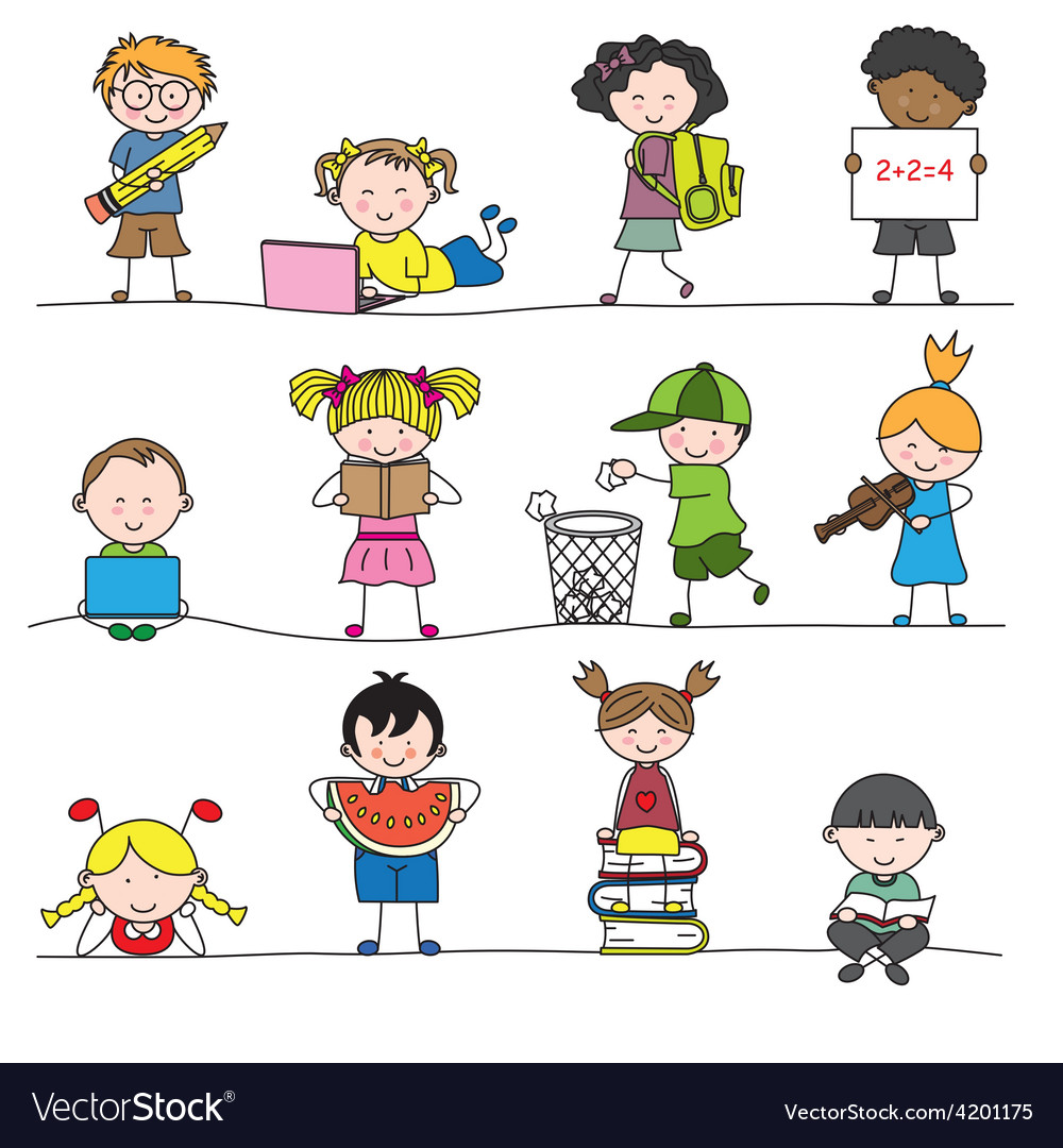 A group of little childrens vector | Price: 1 Credit (USD $1)