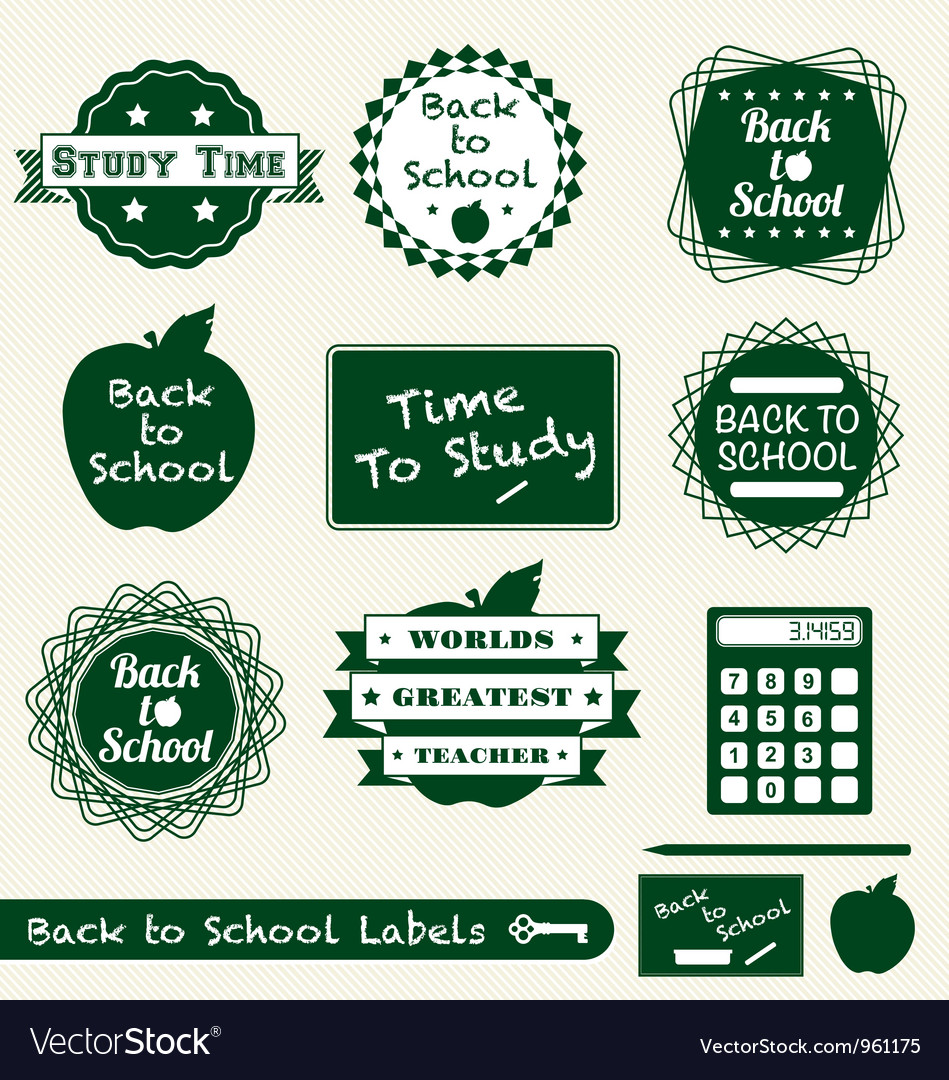 Back to school labels vector | Price: 1 Credit (USD $1)