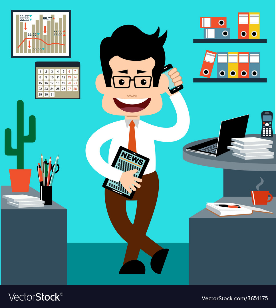 Cartoon businessman in style of flat design vector | Price: 1 Credit (USD $1)
