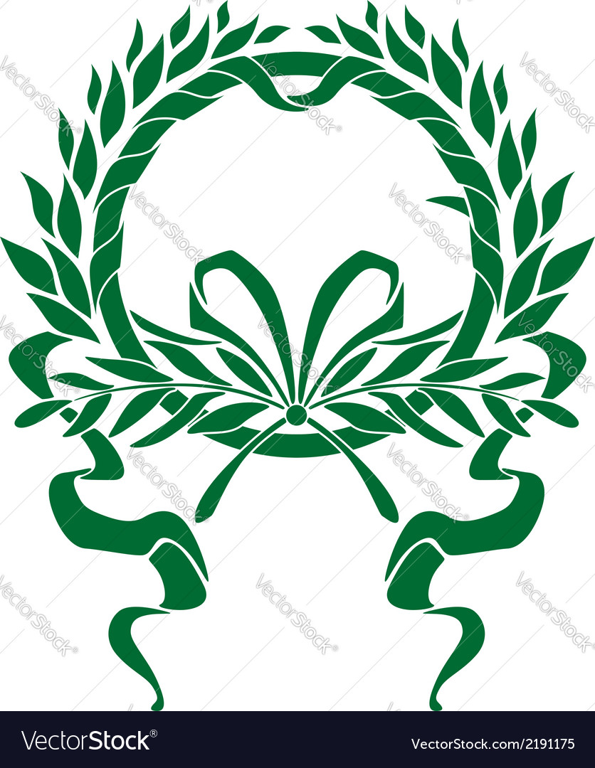 Circular foliate wreath with a winding ribbon vector | Price: 1 Credit (USD $1)