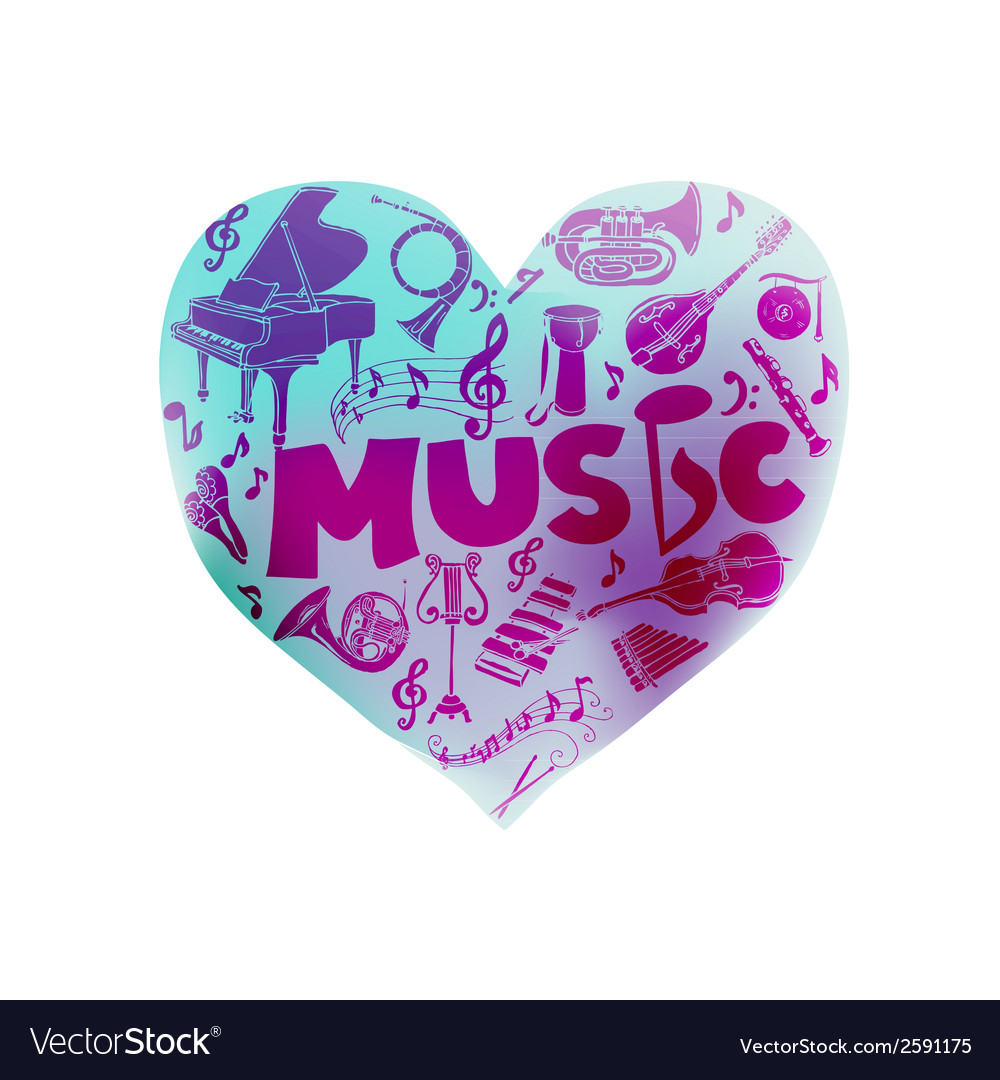 Colorful card with music instruments - hand drawn vector | Price: 1 Credit (USD $1)