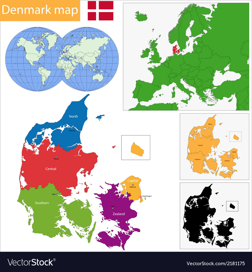 Denmark map vector | Price: 1 Credit (USD $1)