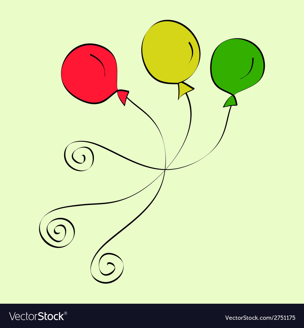 Doodle purple and yellow balloons vector | Price: 1 Credit (USD $1)